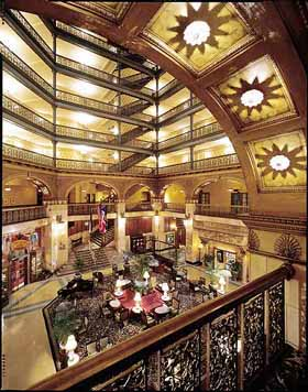 View of the Atrium Lobby of the Brown Palace Hotel of Denver